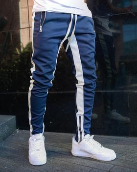 2019 new popular logo hot style sweatpants solid color stitching a bar of foot zipper leisure pants mens overalls