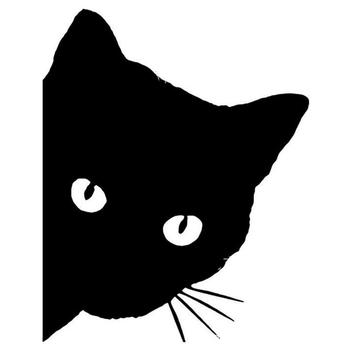 Creative Black Cat Face Peeking Car Stickers Automotive Decal Window Decoration Reflective Sticker Window Door Sticker image