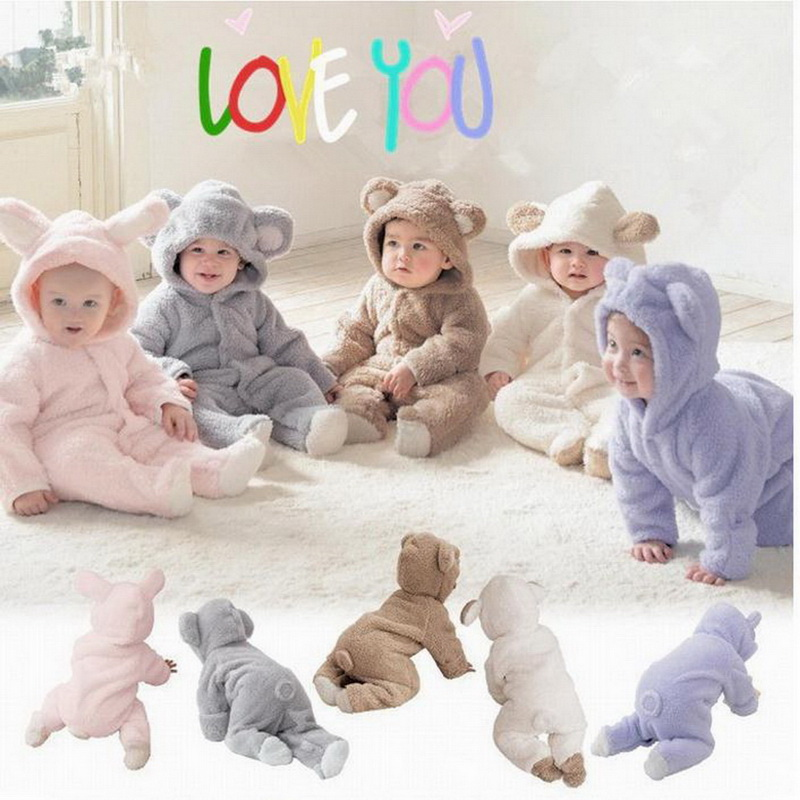 Autumn Winter Baby   Rompers   Bear Newborn Baby Coral Fleece Hoodies Jumpsuit Baby Girls Boys   Romper   Toddle Clothing