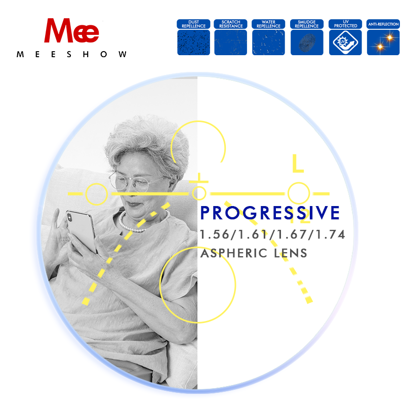 1.56 1.61 1.67 Progressive lenses Office multifocus Lens with Large and Wide Vision Area for Intermediate Distance Computer lens