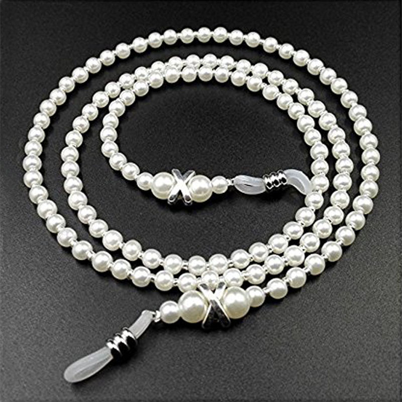 Fashion White Pearl Beaded Sunglass Chains Eyeglasses Reading Glasses Chain Cord Holder For Men Women