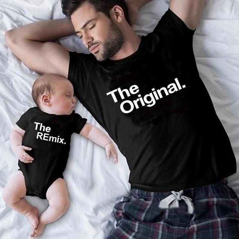 El Original Remix familia a juego trajes papá mamá niños camiseta bebé Bodysuit mirada Familiar Padre hijo ropa regalo del Día del Padre