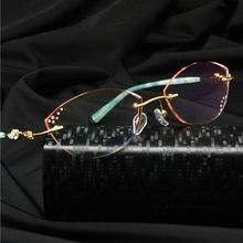 Woman Glasses Frame Rimless Reven Jate Titanium Eyewear Optical-Prescription Fashion