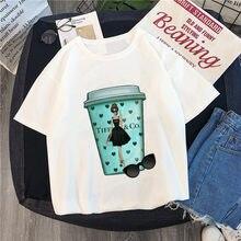 Luslos nova chegada café harajuku t camisa branco o pescoço 2019 tumblr impressão da arte camiseta engraçado dos desenhos animados tshirt amantes homme topos