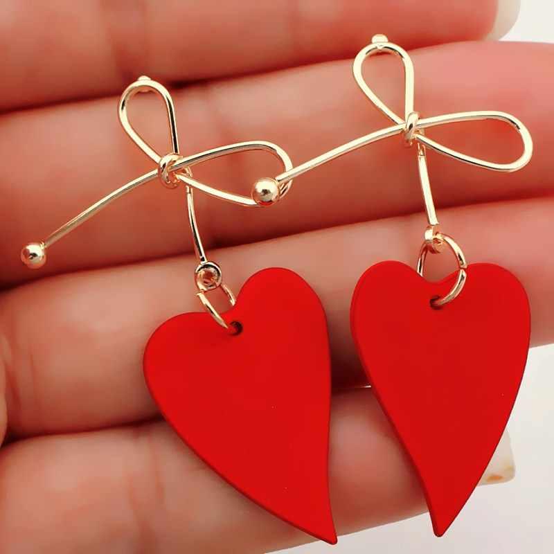 2019 Fashion Gold Color Heart Geometric Drop Earring for Women  Vintage Red Green Yellow Earring 2019 Irregular Korean Jewelry