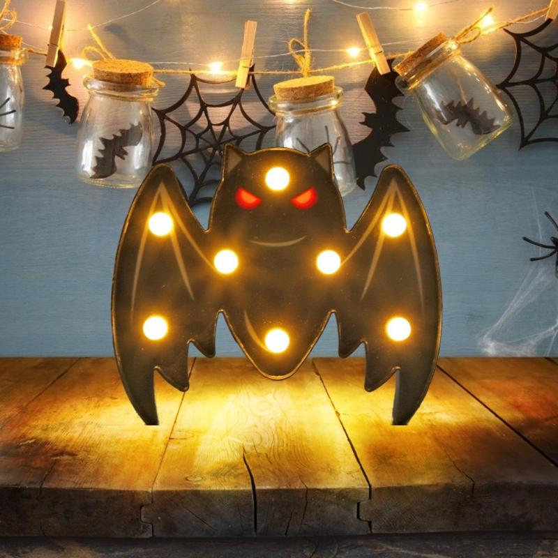 Bat Animal Marquee Sign LED Light Wall Hanging Night Lamp Halloween Decor