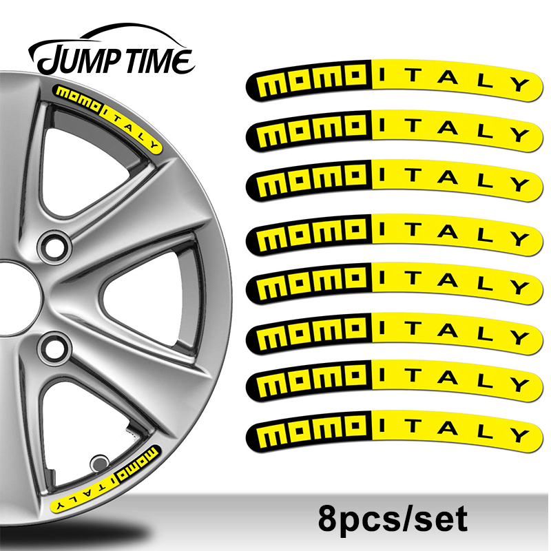 Jump Time 13cm X 1.3cm 8Pcs For Momo Italy Rim Sticker Wheel Stripes Set Emblem Car Auto Tuning Motorcycle Car Styling Decor