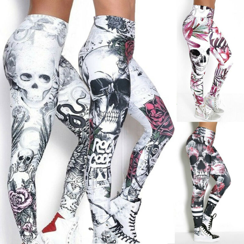 Goocheer New Arrival Leggings Women Skull Head 3D Printed Camouflage Legging Workout Leggins Slim Elastic Plus Size Pants Legins