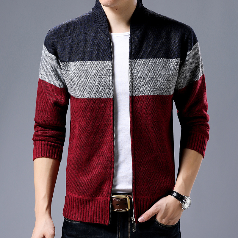 Men Casual Stand Collar Knitting Sweaters Mixed Colors Casual Striped Cardigan Sweater Zipper Winter New Warm Outerwear M-3XL