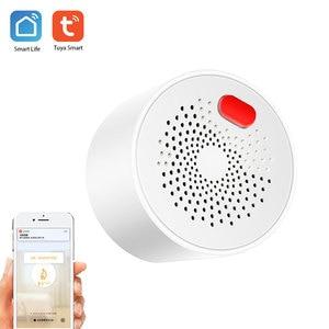 Tuya умный детектор газа, Wi-Fi, пожарная сигнализация, датчик дыма, датчик углеродного газа для домашней безопасности, Автоматическая сигнализ...