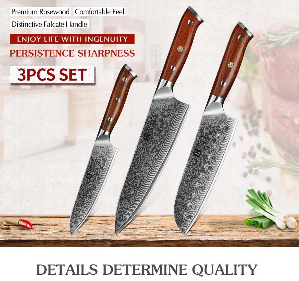 Japanese Forged Damascus Steel 3pc. Chef Pro Kitchen Knife Set