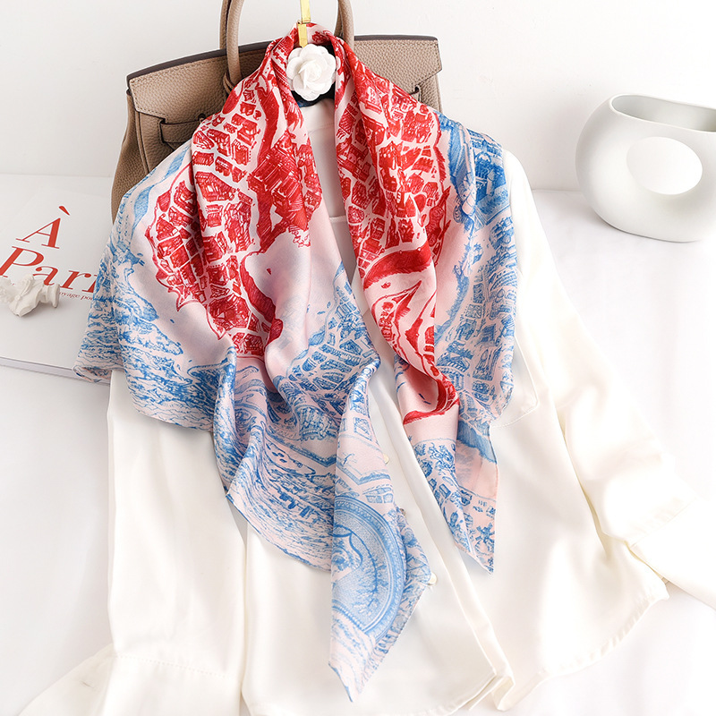 With Fashion In The Spring And Autumn 90 Big Squares Female Emulation Silk Horse City Summer Suntan Shawls Scarves