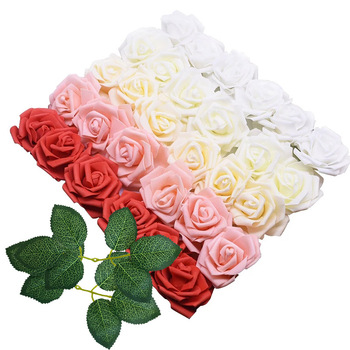 10/20/30Pcs 8CM PE Foam Rose Flowers Head for Home Wedding Decoration Artificial Flowers DIY Bride Bouquet Scrapbooking