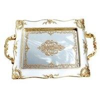 HLZS European Vintage Cake Trays Gold Mirror Glass Cupcake Plate Perfume Holder Mirrored Makeup Tray Wedding Party Home Decorati