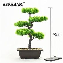 Árbol de pino Artificial grande, 40cm, 5 tenedores, bonsái de plástico en maceta, plantas de tacto Real con una olla para decoración de hogar, oficina y jardín