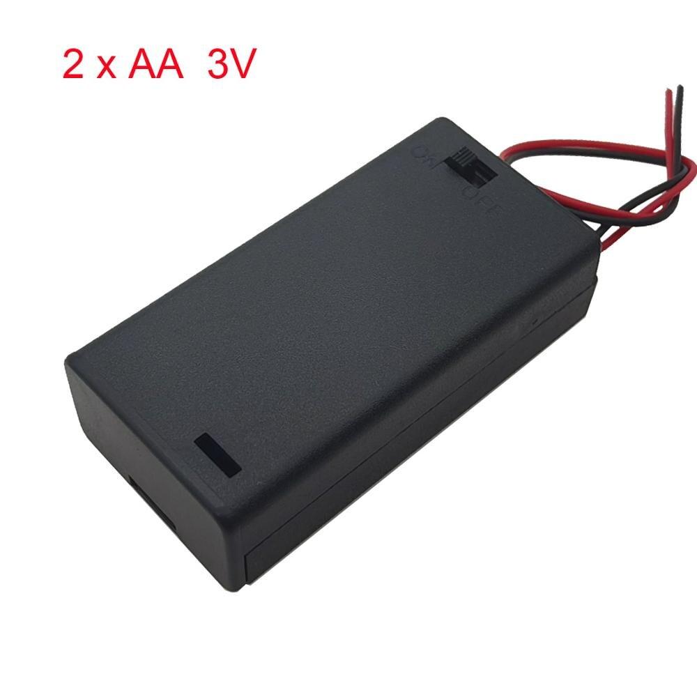 2 aa 3v bateria caso titular caixa de armazenamento base soquete com fios, interruptor e capa, suporte da bateria