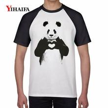 2019 T-shirt Men Harajuku Love Heart Panda 3D Print Animal T-Shirt Mens Womens Graphic Tees Casual Tops Couple T shirts
