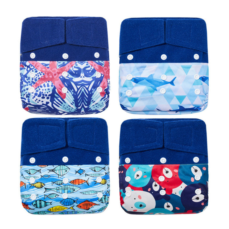 Thank U Mom Hook Loop OS Cloth Diaper Washable Baby Reusable Cloth Nappies Super Soft Polar Fleece Inner Fit 5-15KG Baby