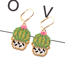 FAIRYWOO Cactus Earrings Women Bohemian Green Jewelry Miyuki Bead Pendientes Drop Earring Handmade Cute Ins Hot