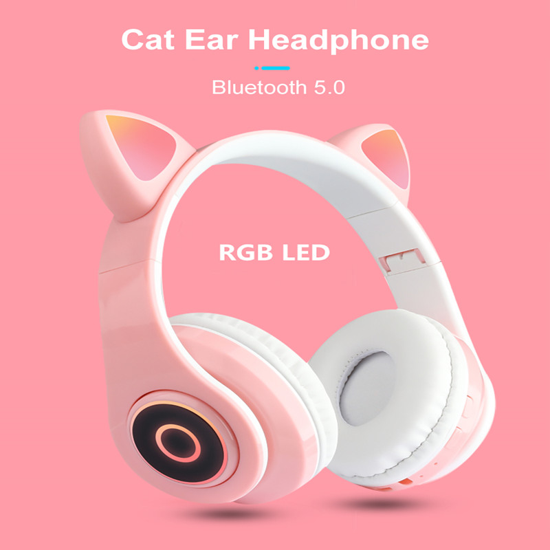 Drahtlose Katze Ohr Bluetooth Headset Neue Stereo HD Universal Musik Headset Multicolor Mit LED Licht Klapp Gaming Headset