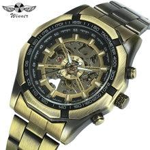 勝者公式ヴィンテージメンズウォッチトップブランドの高級自動機械式時計男性銅鋼ストラップスケルトン腕時計軍
