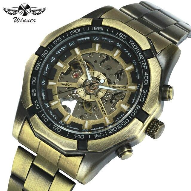 זוכה הרשמי בציר Mens שעונים למעלה מותג יוקרה אוטומטי מכאני שעון גברים נחושת פלדת רצועת שלד שעוני יד צבא