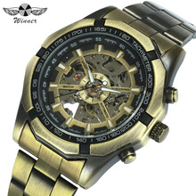 WINNER Official Vintage Mens Watches Top Brand Luxury Automatic Mechanical Watch Men Copper Steel Strap Skeleton Wristwatch Army