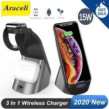 Беспроводное зарядное устройство 3 в 1 для Apple iWatch iPhone 11 Pro XS Airpods Pro, док-станция с держателем для быстрой зарядки, подставка с креплениями, 15 Вт