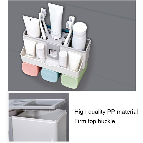 Large Capacity Toothbrush Holder Wall Mount Storage Rack with Automatic Toothpaste Dispenser @LS image
