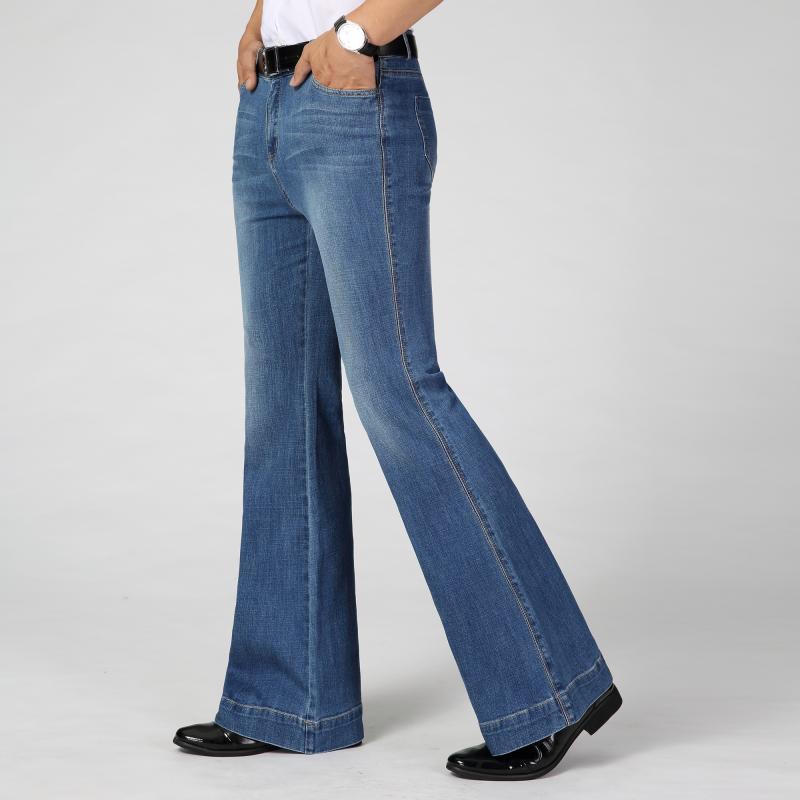 Color: Dark blue Light blue Men's Denim Mid-waist Big flare Stretch trousers Men's Slim Fashion Casual trousers Size 26-33