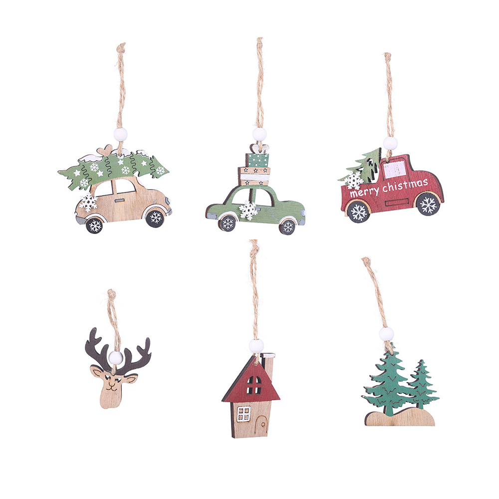 2020 Christmas Cable Car Funny 2020 Christmas Tree Car Wooden Pendant Ornaments DIY Jewelry