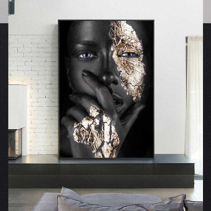 Плакат Африканской женщины, Черное золото, Абстрактная Картина на холсте, современный настенный художественный принт, декоративная картина для гостиной, украшение для дома