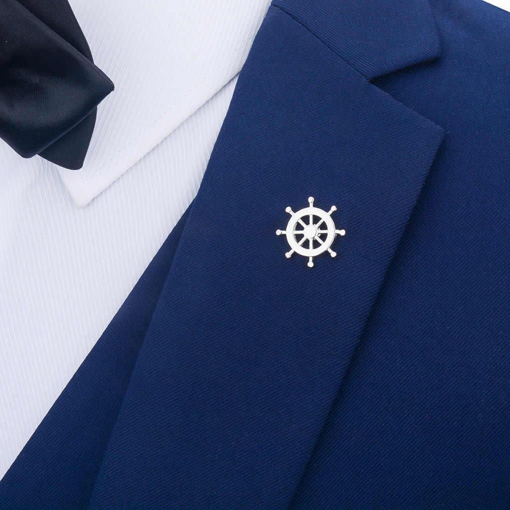 Moda nowa kotwica metalowa emaliowana broszka przypinka do klapy na wesele mężczyzna elegancka koszula broszka biżuteria