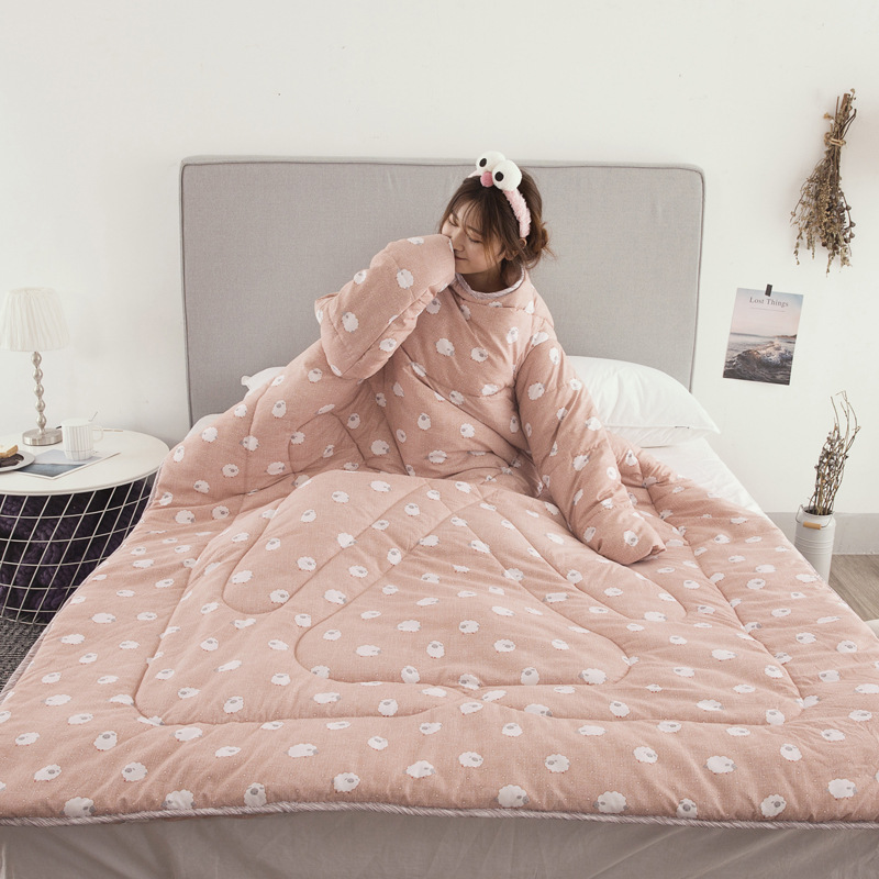 Winter Comforters Lazy Quilt with Sleeves Family Throw Blanket Hoodie Cape Cloak Nap Blanket Dormitory Mantle Covered Blanket 15