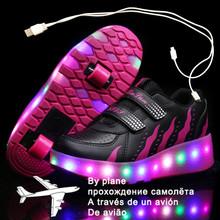 Dzieci dwa koła świecące trampki czarna różowa dioda Led lekkie buty rolki dzieci buty Led chłopcy dziewczęta ładowanie USB 43 tanie tanio Warm like home W wieku 0-6m 7-12m 13-24m 25-36m 3-6y 7-12y 12 + y CN (pochodzenie) CZTERY PORY ROKU Unisex RUBBER Dobrze pasuje do rozmiaru wybierz swój normalny rozmiar
