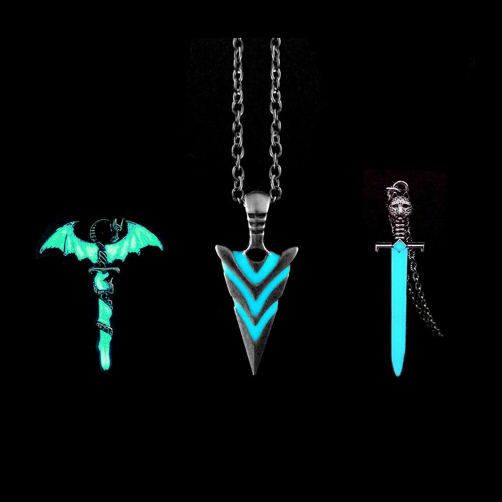 Светящиеся стрелки кулон ожерелье В рыцарском стиле ожерелье с копьями светится в темноте Щука ожерелье для женщин и мужчин, в качестве под...