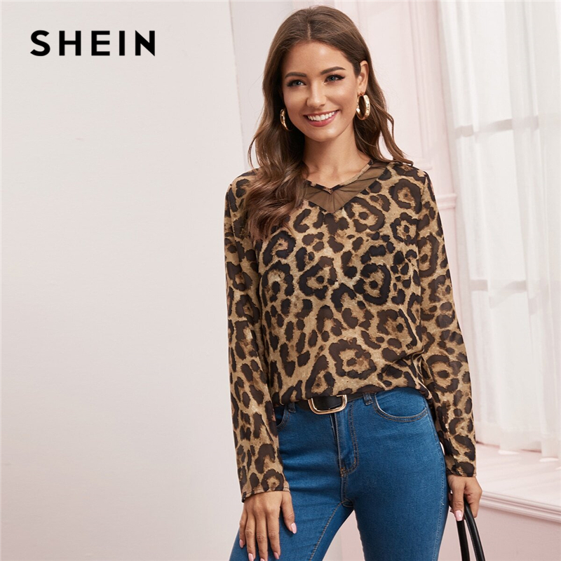 SHEIN Multicolor Mesh Insert Leopard Print Top Sheer Blouse Women Spring Summer V Neck Office Ladies Casual Blouses 2