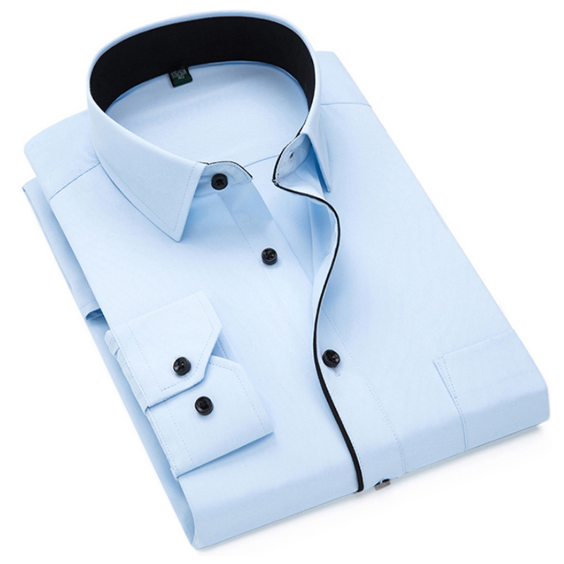 Autumn New Men Shirt Smart Casual Long Sleeved Button Down Male Twill Shirts Formal Business White Blouse 4XL 5XL 1