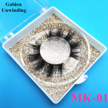 Golden Unwinding MK-01 wholesale 100% mink eyelashes 15-20mm natural 3d false eyelashes 3d mink custom box lash vendor