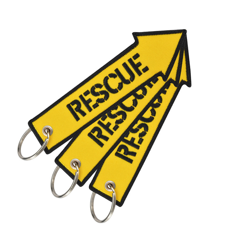 Luggage Tag Embroidery Bag Tag Rescue Yellow Arrow Shaped With Keyring Key Holder For Suitcase Travel Accessories 3PCS/LOT