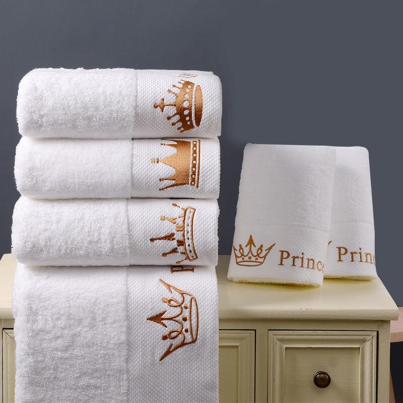 Качественное белое полотенце для 5-звездочных отелей из 100% хлопка, домашний набор, роскошные банные полотенца с вышивкой в виде короны для в...