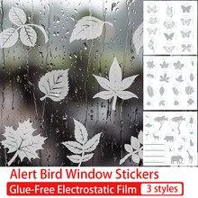 Alert Bird Window Stickers Leaf Butterfly Anti-collision Window Clings Glue-Free Electrostatic Film Window Glass Decals