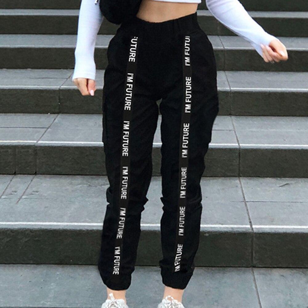 Autumn Winter Black Satin Joggers Women Trousers High Waist Pants Sweat Satin Pants Female Sweatpants Sport Pants