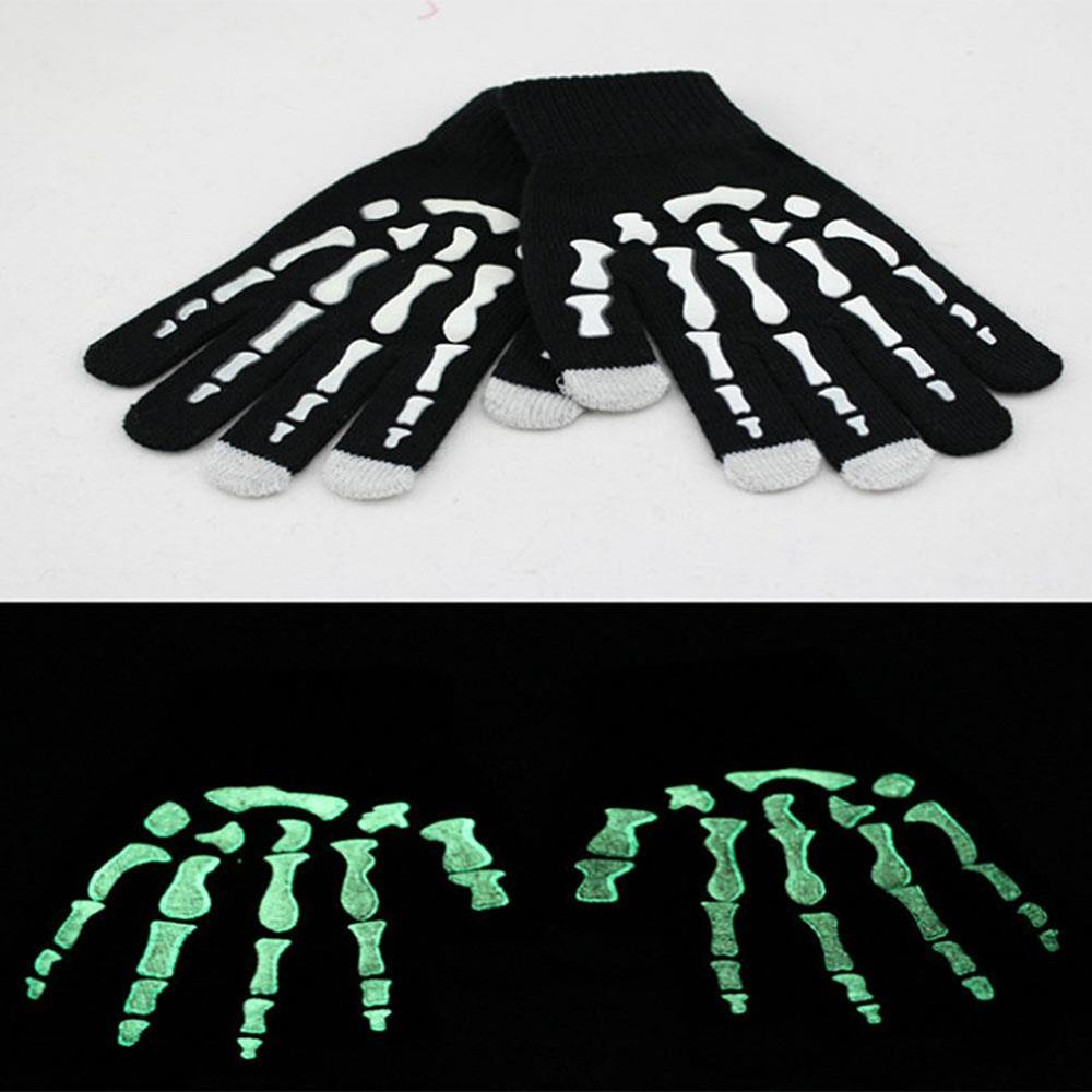 Touch Screen Smartphones skull Tablets Luminous winter <font><b>gloves</b></font> <font><b>Gloves</b></font> knitted <font><b>Men</b></font>&#<font><b>39</b></font>;<font><b>s</b></font> Fashion Warm <font><b>Gloves</b></font> a paw <font><b>glove</b></font> touch image