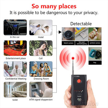 מיני אנטי מרגלים מצלמה נסתרת גלאי CC308 + אנטי פספוסים Espia מצלמה Wifi RF לייזר אודיו אות באג מרגלים מכשיר GSM מכשיר Finder