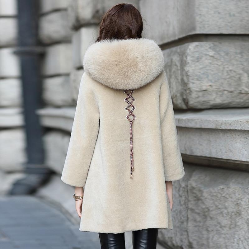 Real Fur Coat Sheep Shearing Coats Female 100% Natural Wool Jacket Women Fox Fur Hooded Warm Long Parka Clothes LWL1374