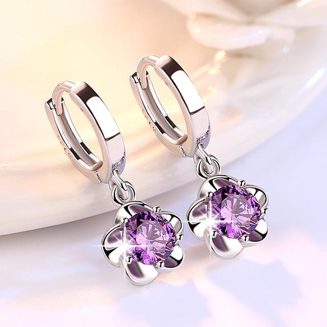 Plum Blossom Peony Flower Purple Red Crystal Silver Earrings Hoop Jwelry For Women Hoop Earrings Oorringen.jpg 640x640 - Plum Blossom Peony Flower Purple Red Crystal Silver Earrings Hoop Jwelry For Women Hoop Earrings Oorringen Zilver