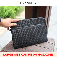 Men's Clutch Bag 100% Genuine Leather Large Capacity A4 Luxury Brand Woven Bag Business Simple Style Classic Envelope Bag New