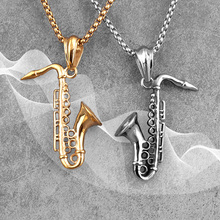 Gold Saxophone Long Men Necklaces Pendant Chain Punk Cool for Boyfriend Male Stainless Steel Jewelry Creativity Gift Wholesale