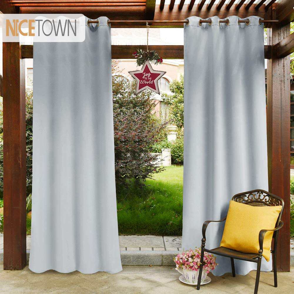 Waterproof Pergola Outdoor Blackout Curtain Panel Drapes Outdoor Top Ring Grommet Rust Proof Water Repellent For Garden Patio